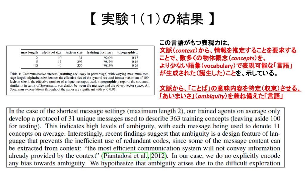 【 実験1(1)の結果 】 この言語がもつ表現力は、 文脈(context)から、情報を推定す...