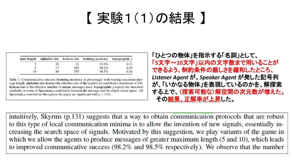 【 実験1(1)の結果 】 「ひとつの物体」を指示する「名詞」として、 「5文字~10文字」以...