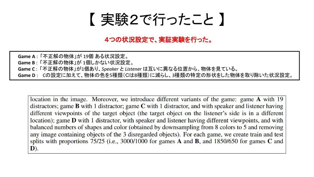 【 実験2で行ったこと 】 Game A : 「不正解の物体」が 19個 ある状況設定。 Ga...