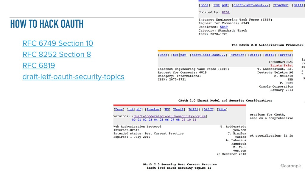 @aaronpk HOW TO HACK OAUTH RFC 6749 Section 10 ...