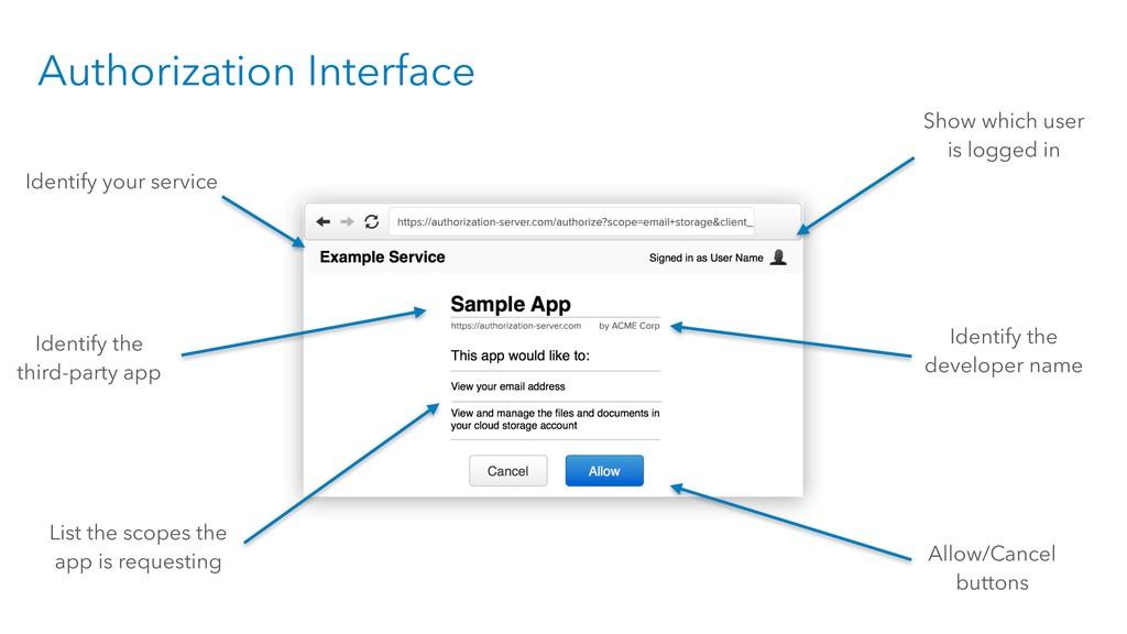 Authorization Interface Identify your service I...