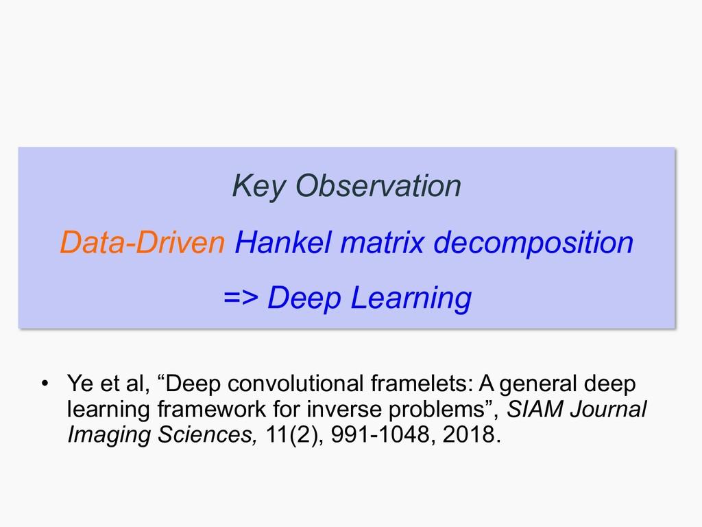 Key Observation Data-Driven Hankel matrix decom...