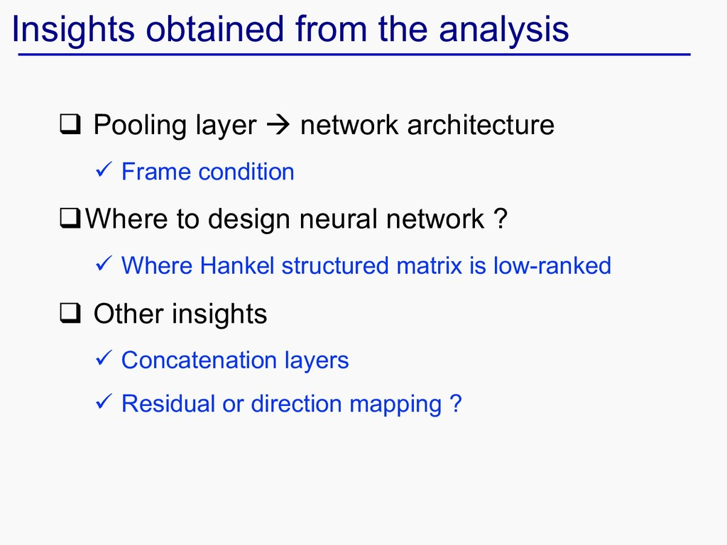 Insights obtained from the analysis q Pooling l...