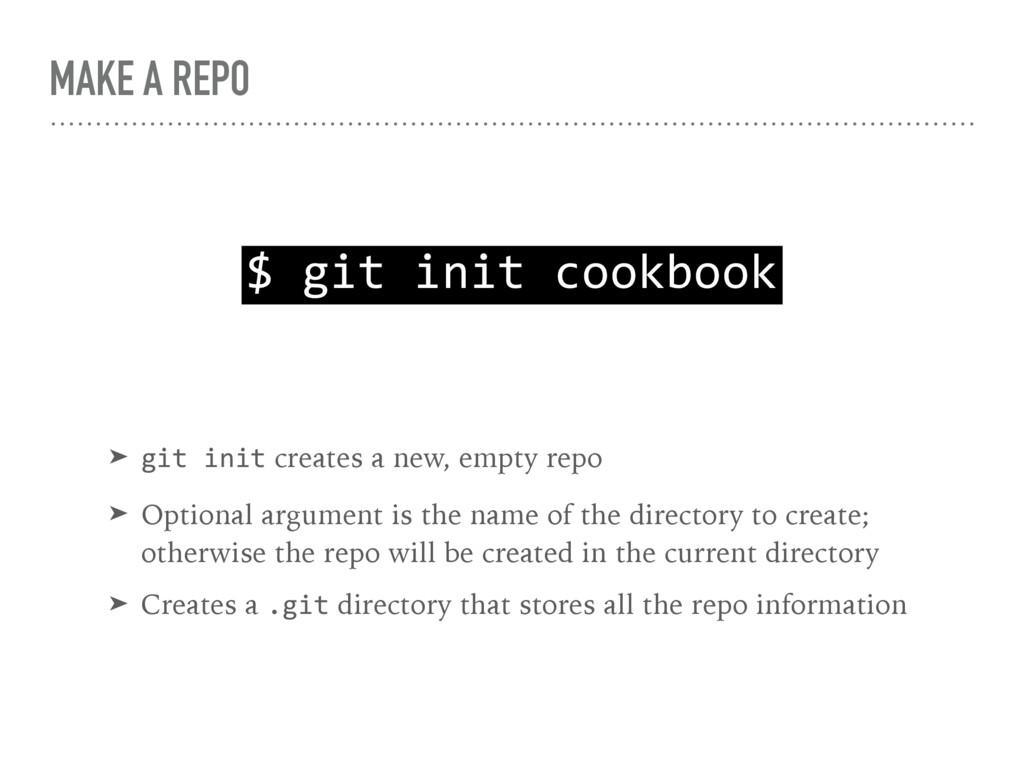 MAKE A REPO $ git init cookbook ➤ git init crea...
