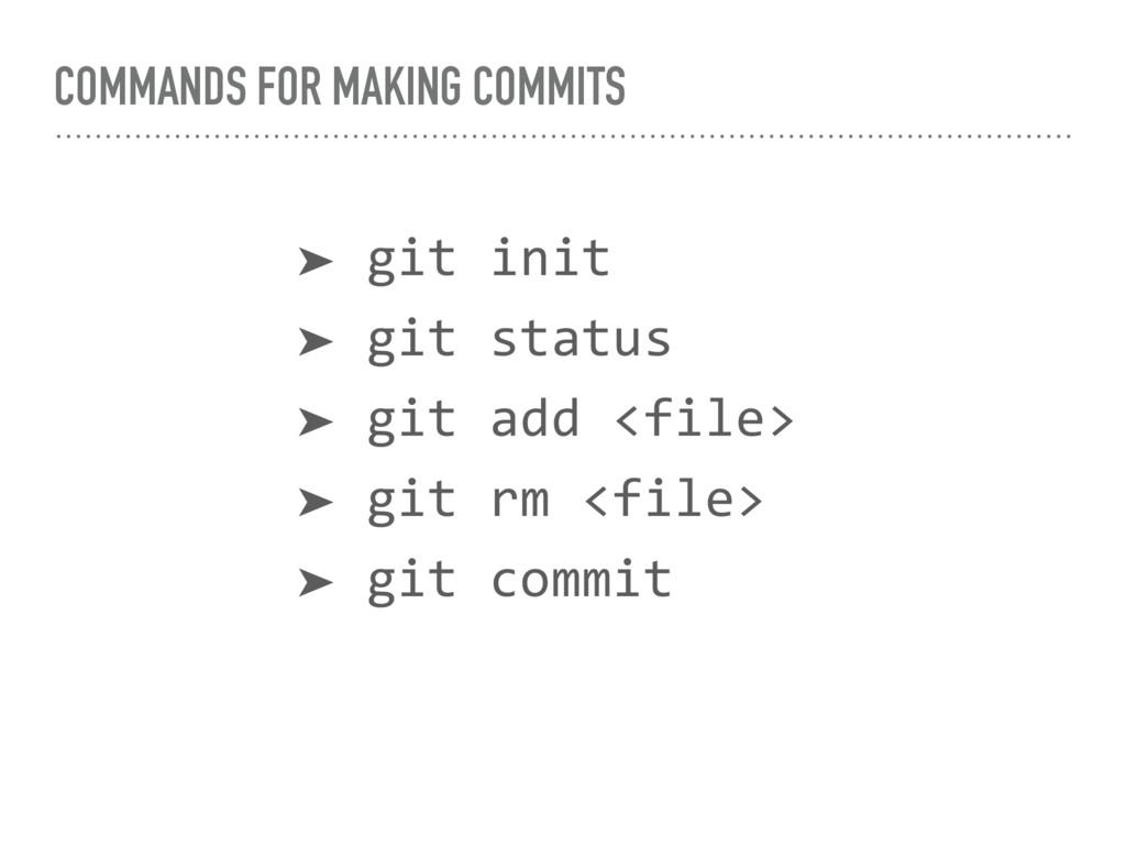 COMMANDS FOR MAKING COMMITS ➤ git init ➤ git st...