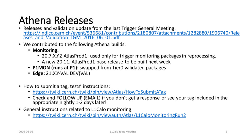 Athena Releases • Releases and validation updat...
