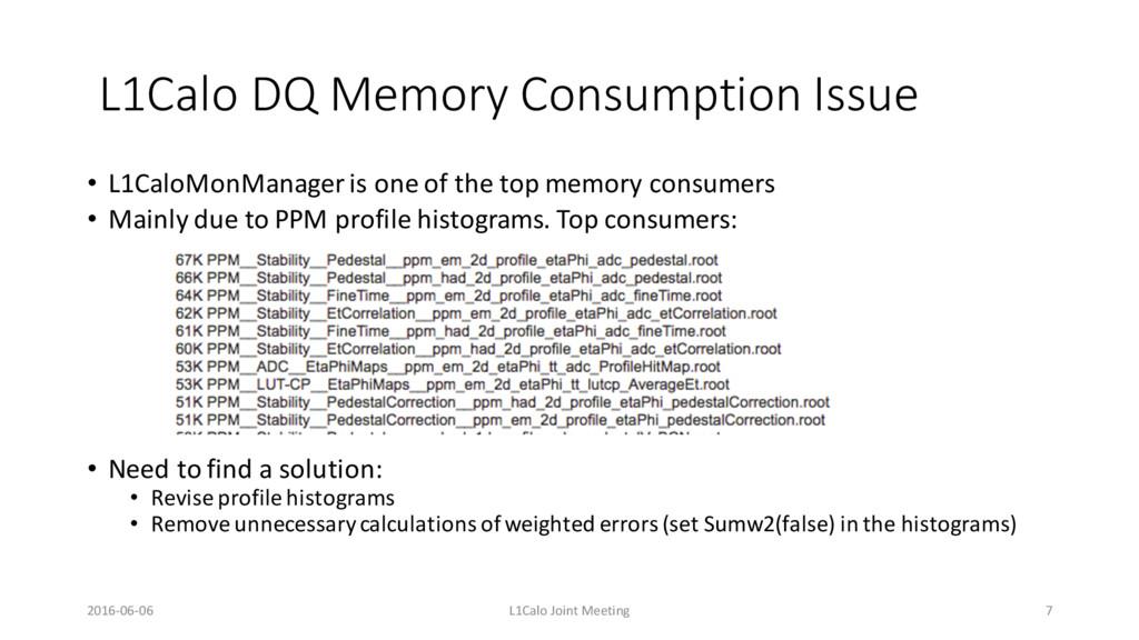 L1Calo DQ Memory Consumption Issue • L1CaloMonM...