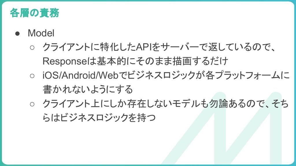 99 ● Model ○ クライアントに特化したAPIをサーバーで返しているので、 Respo...