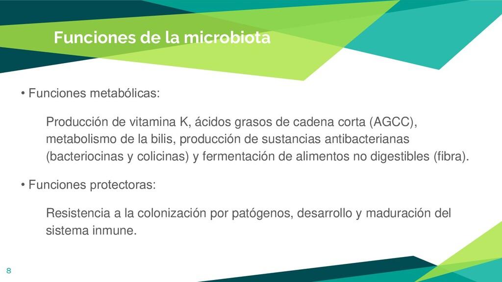 Funciones de la microbiota • Funciones metabóli...