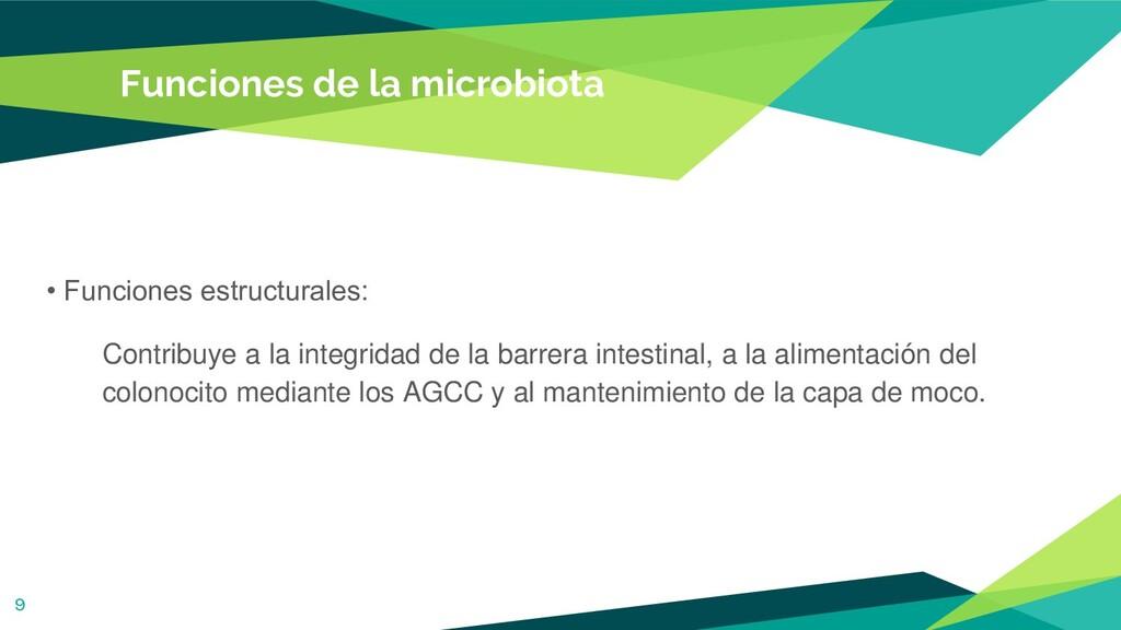 Funciones de la microbiota • Funciones estructu...