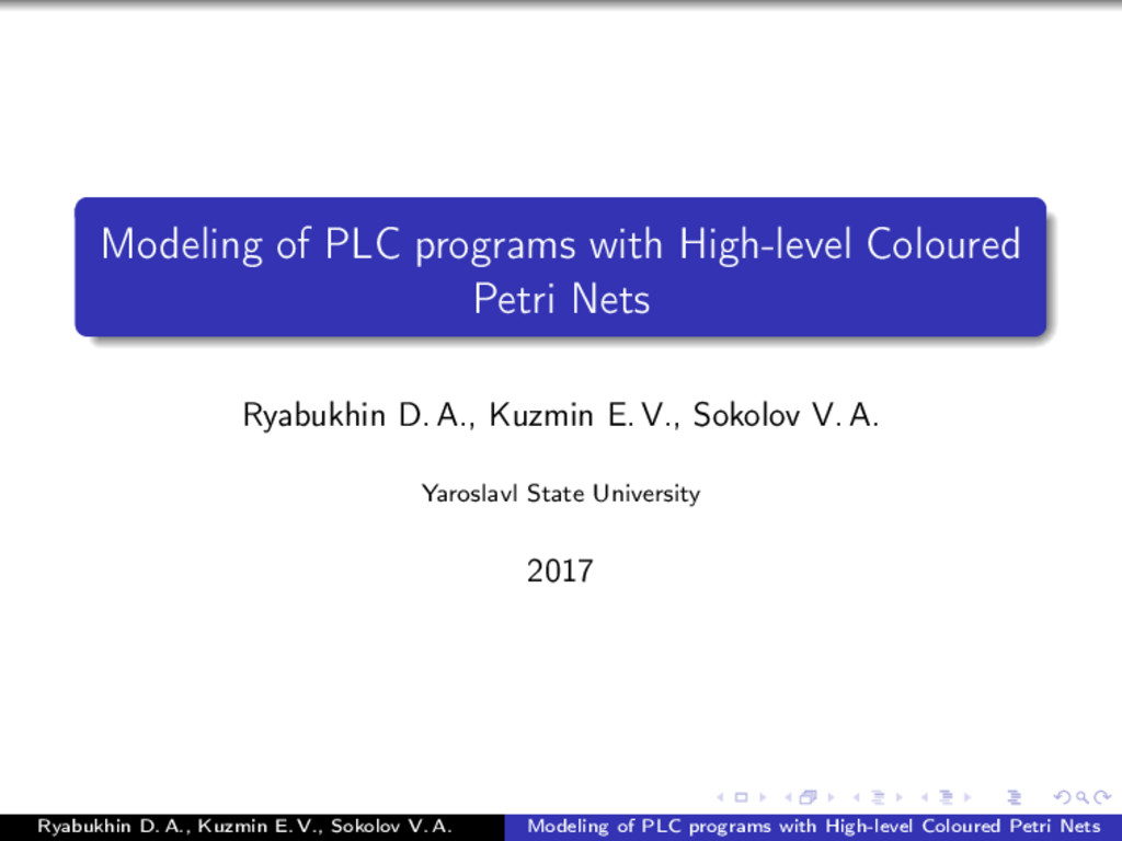 Modeling of PLC programs with High-level Colour...