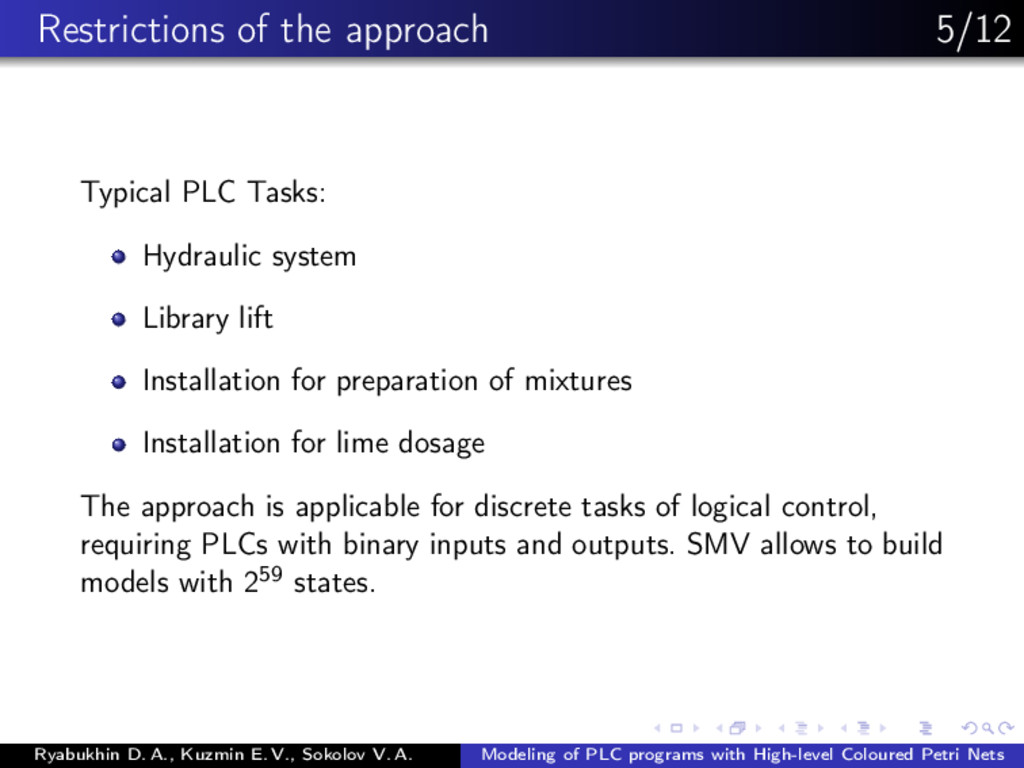 Restrictions of the approach 5/12 Typical PLC T...