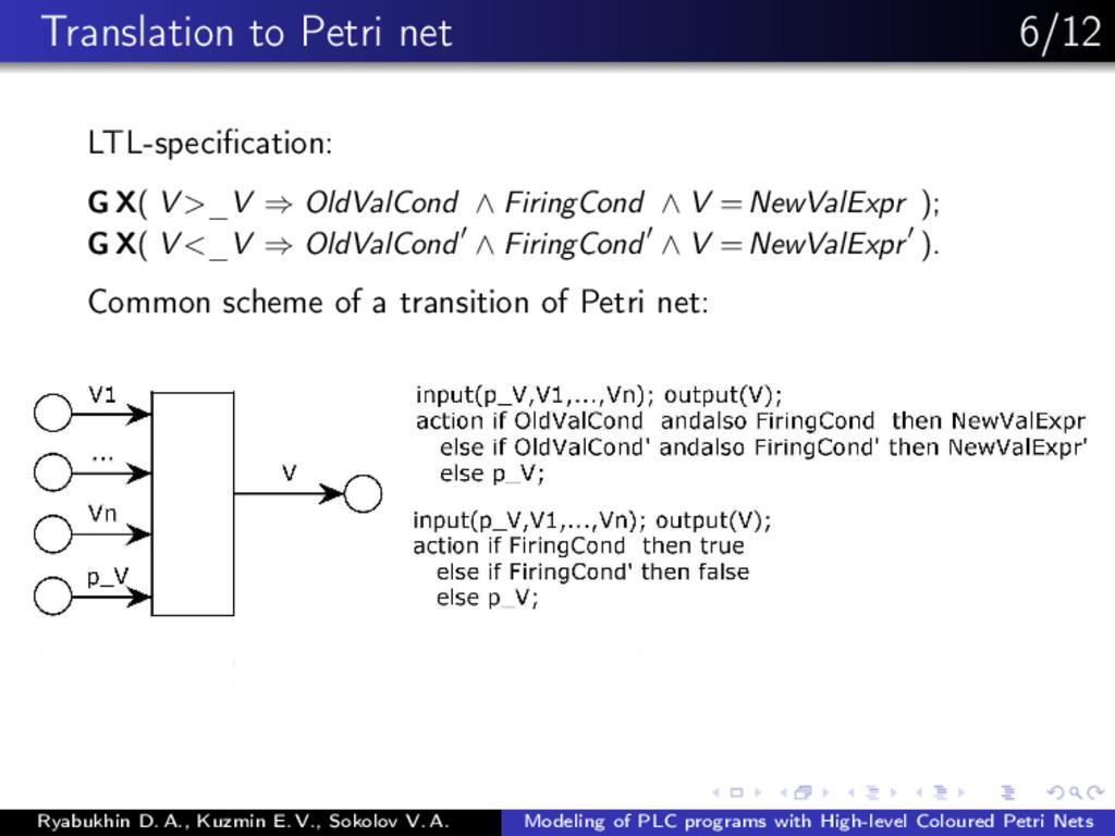 Translation to Petri net 6/12 LTL-specification:...