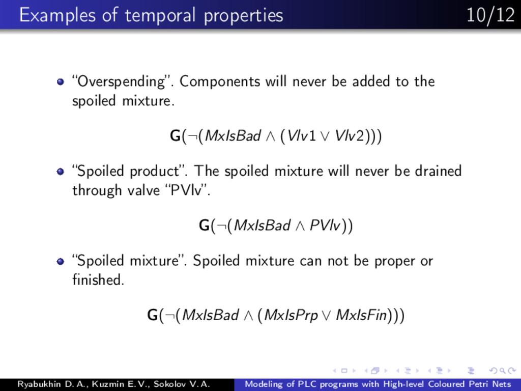 "Examples of temporal properties 10/12 ""Overspen..."