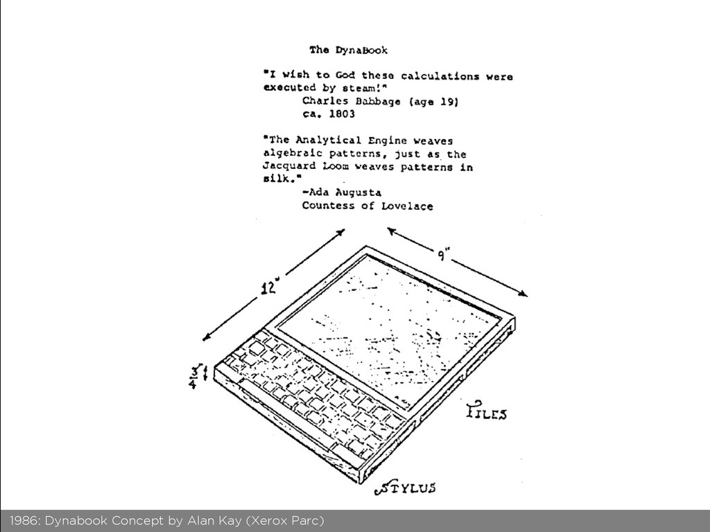 1986: Dynabook Concept by Alan Kay (Xerox Parc)