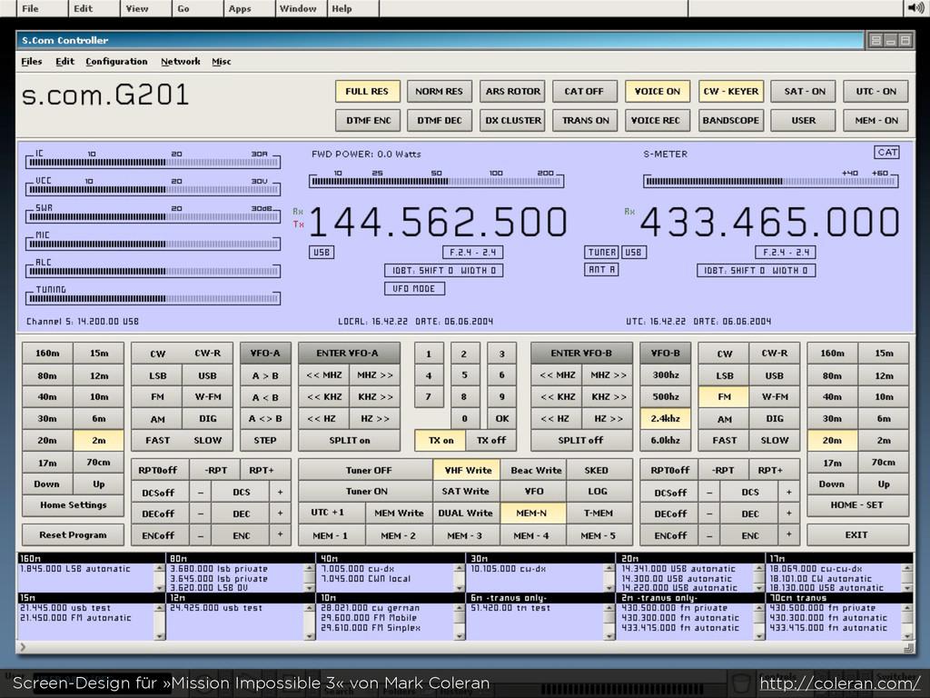 Screen-Design für »Mission Impossible 3« von Ma...