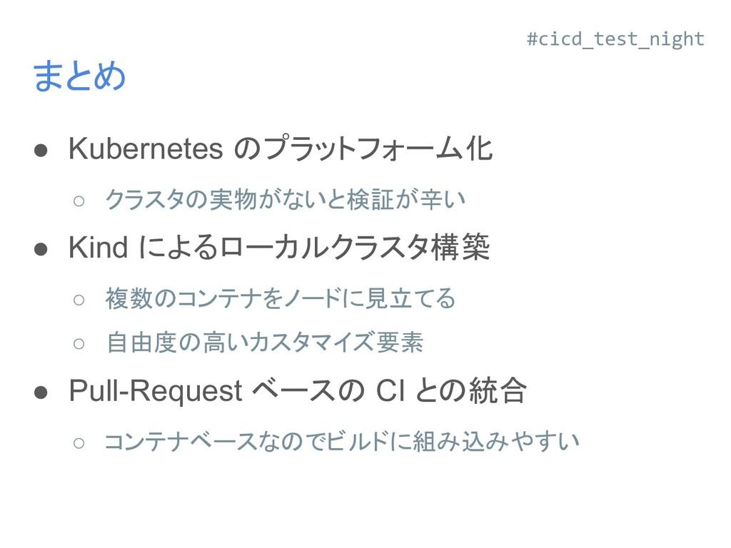 まとめ ● Kubernetes のプラットフォーム化 ○ クラスタの実物がないと検証が辛い ...