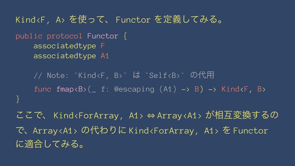 Kind<F, A> Λͬͯɺ Functor Λఆٛͯ͠ΈΔɻ public protoc...