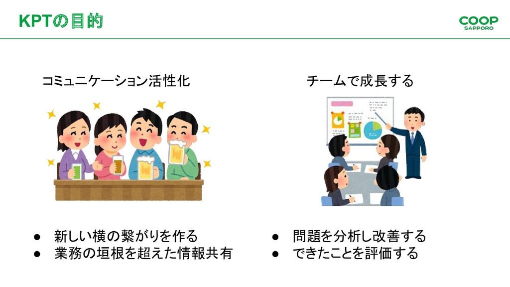 KPTの目的 コミュニケーション活性化 チームで成長する ● 新しい横の繋がりを作る ● 業務...