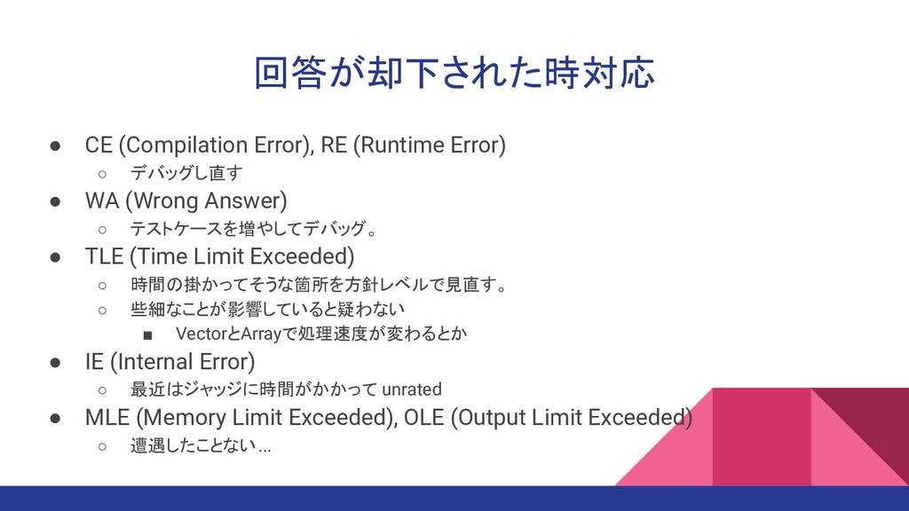 回答が却下された時対応 ● CE (Compilation Error), RE (Runti...
