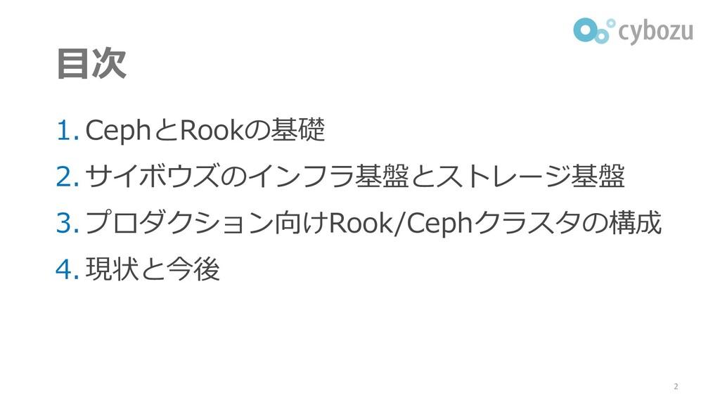 目次 1. CephとRookの基礎 2. サイボウズのインフラ基盤とストレージ基盤 3. プ...
