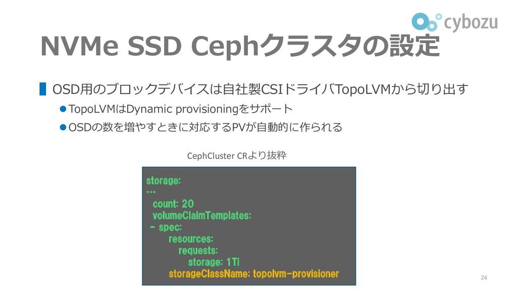 NVMe SSD Cephクラスタの設定 ▌OSD用のブロックデバイスは自社製CSIドライバT...