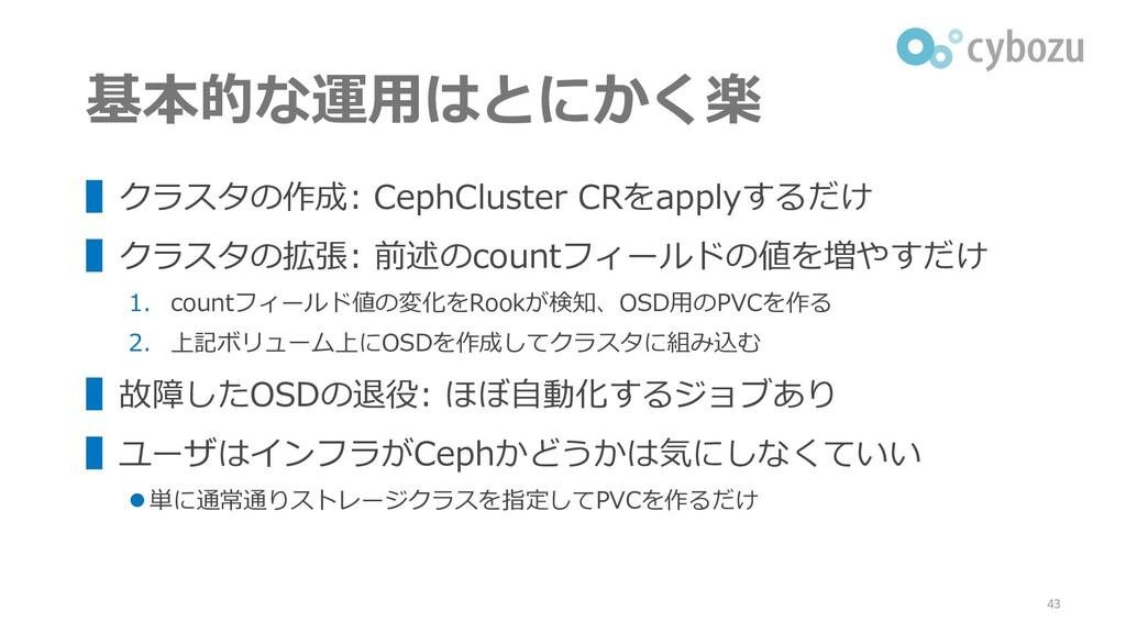 基本的な運用はとにかく楽 ▌クラスタの作成: CephCluster CRをapplyするだけ...