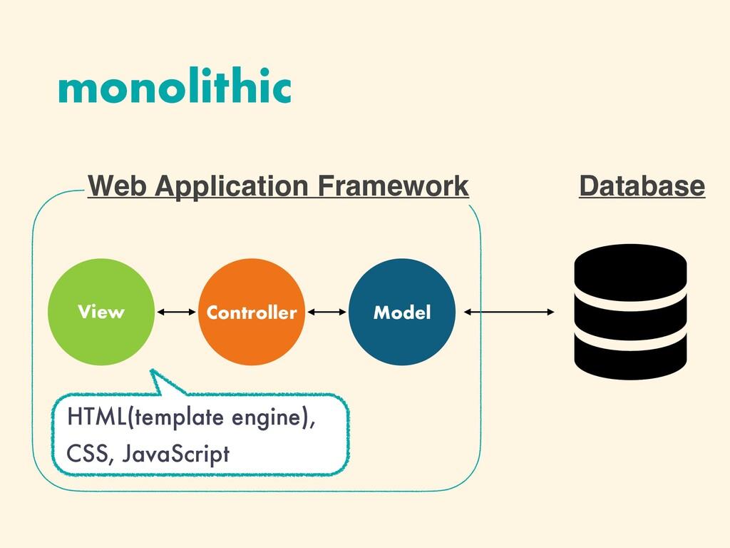 HTML(template engine), CSS, JavaScript monolith...