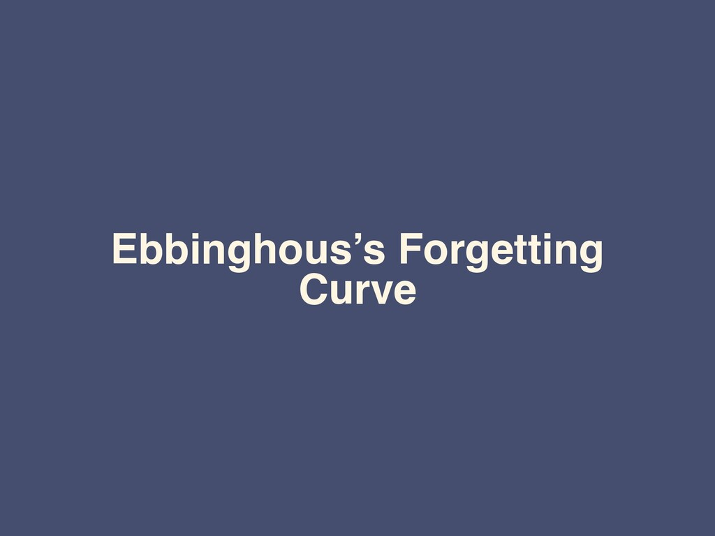 Ebbinghous's Forgetting Curve
