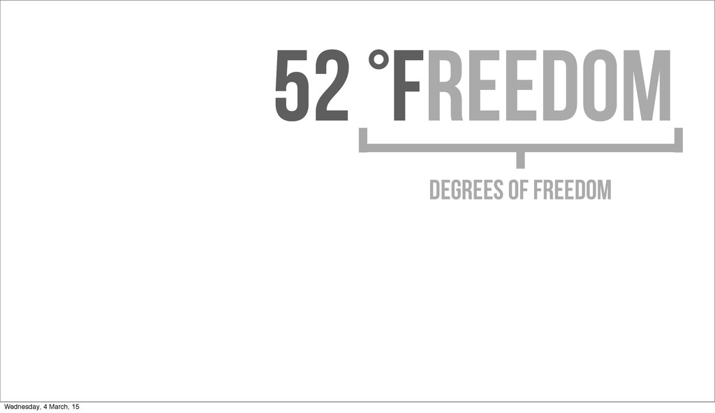 52 °F 52 °Freedom DEGREES OF FREEDOM Wednesday,...