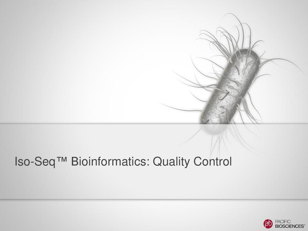 Iso-Seq™ Bioinformatics: Quality Control