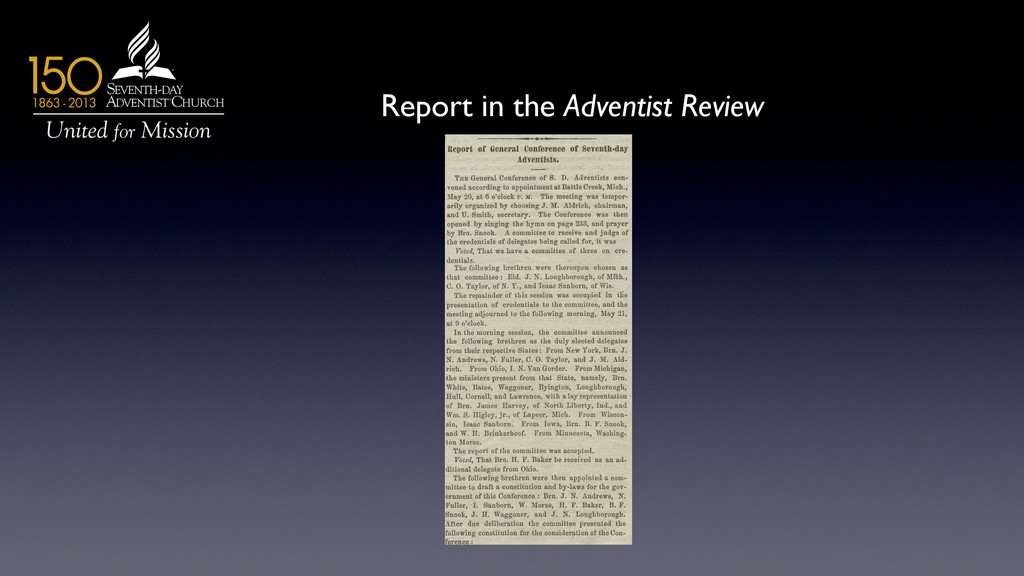 Report in the Adventist Review