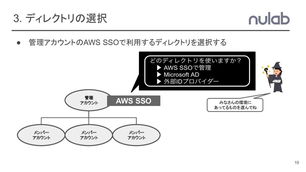 3. ディレクトリの選択 ● 管理アカウントのAWS SSOで利用するディレクトリを選択する ...
