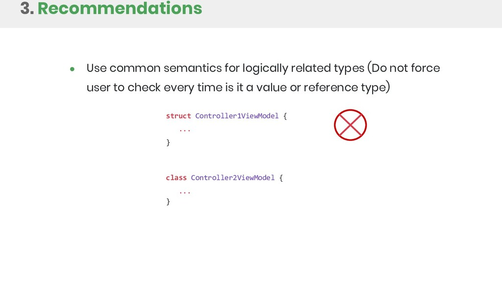 3. Recommendations struct Controller1ViewModel ...