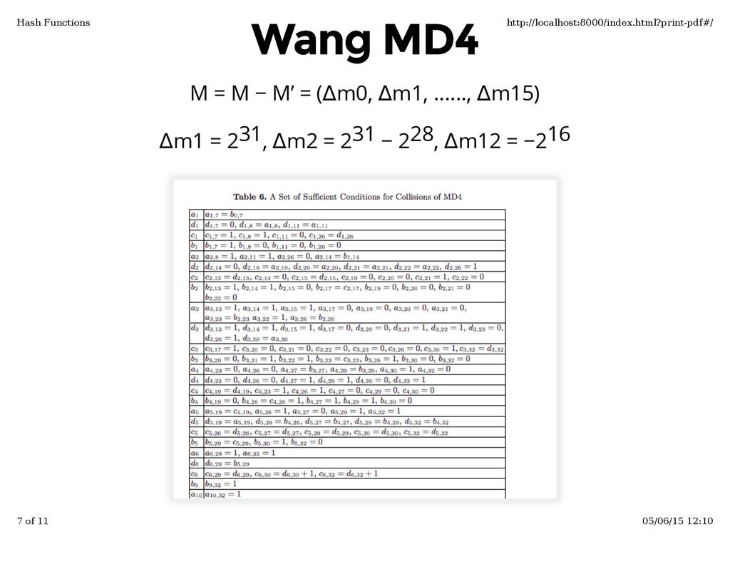 Δm1 = 2 , Δm2 = 2 − 2 , Δm12 = −2 Wang MD4 Wang...