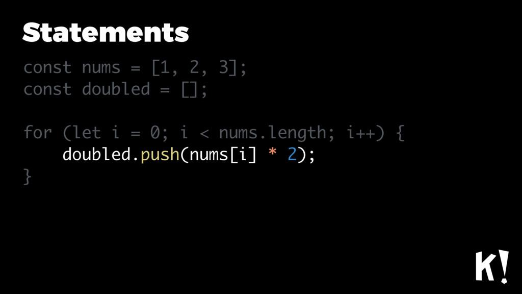 Statements const nums = [1, 2, 3]; const double...