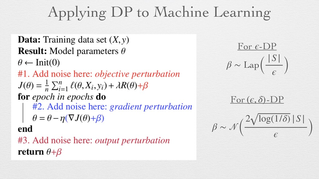 Applying DP to Machine Learning (ϵ, δ) ϵ For -D...