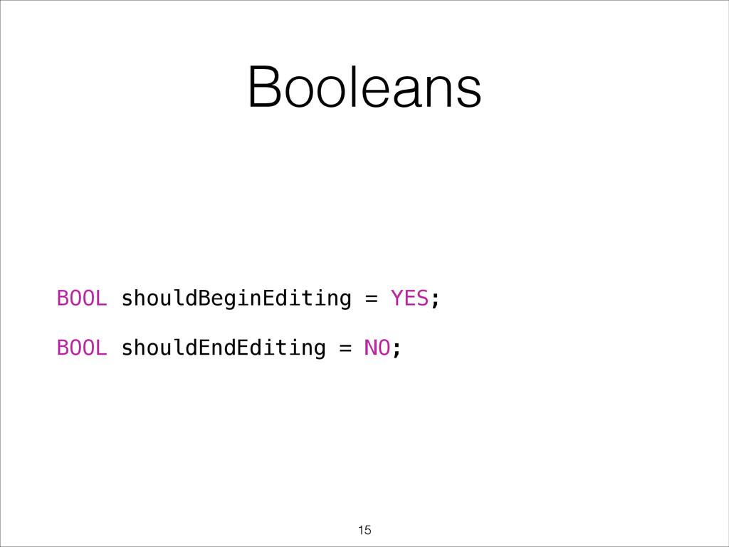 Booleans BOOL shouldBeginEditing = YES; ! BOOL ...
