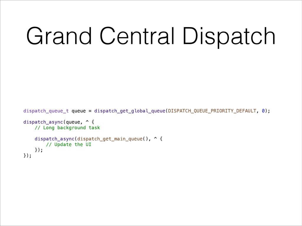 Grand Central Dispatch dispatch_queue_t queue =...
