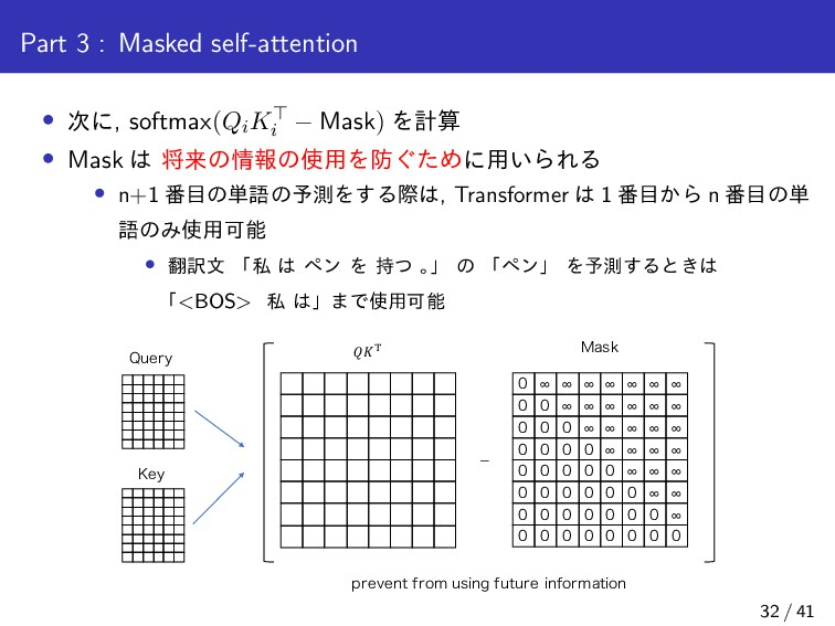 Part 3 : Masked self-attention • ʹ, softmax(Qi...