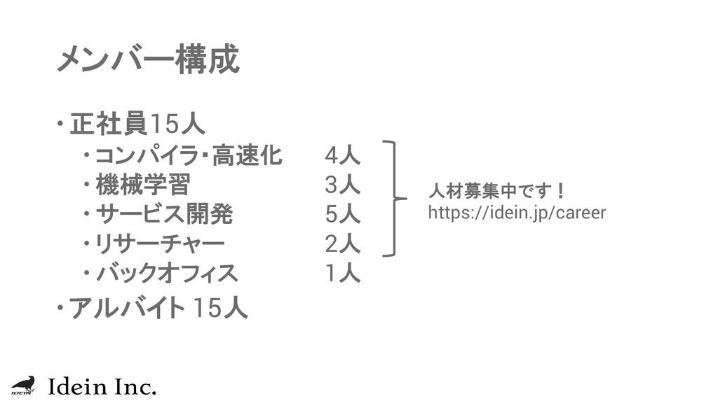 メンバー構成 正社員15人  コンパイラ・高速化 4人  機械学習 3人  サービス開...