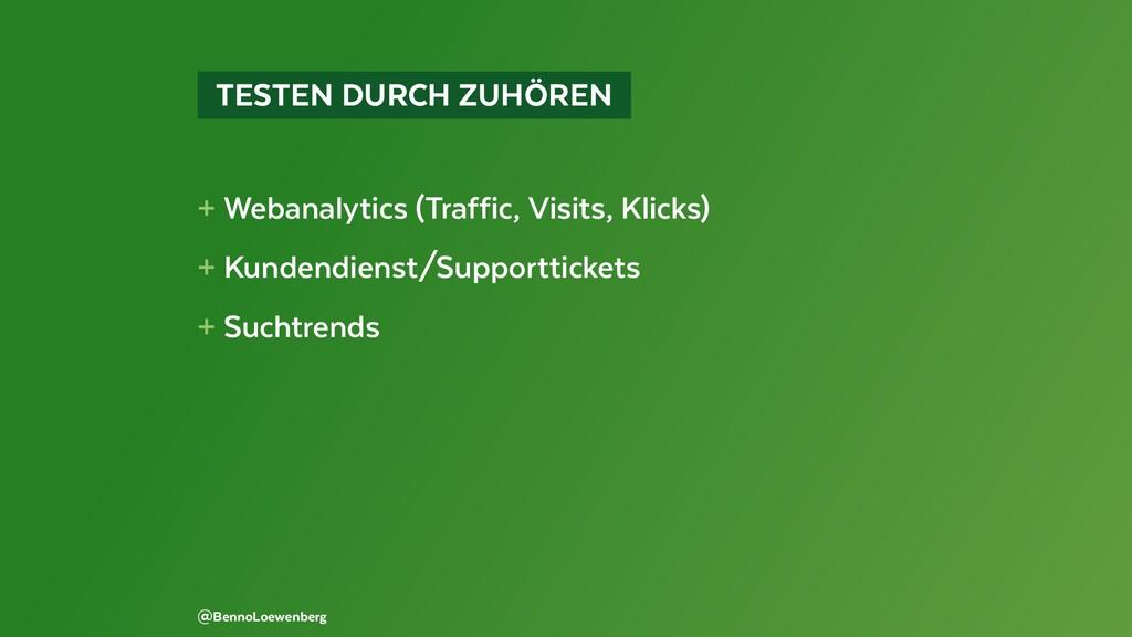 TESTEN DURCH ZUHÖREN + Webanalytics (Traffic...