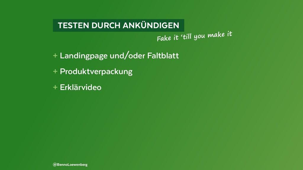TESTEN DURCH ANKÜNDIGEN + Landingpage und/od...