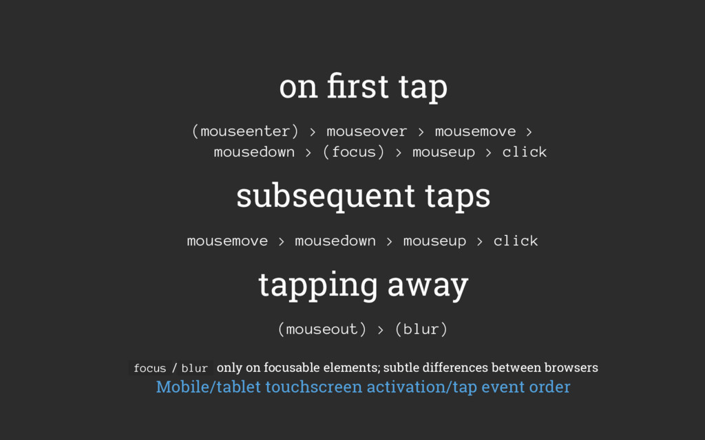 on first tap (mouseenter) > mouseover > mousemov...