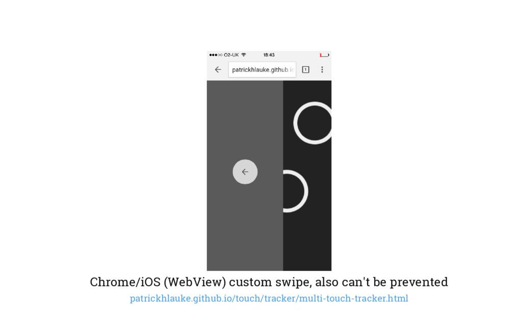 Chrome/iOS (WebView) custom swipe, also can't b...