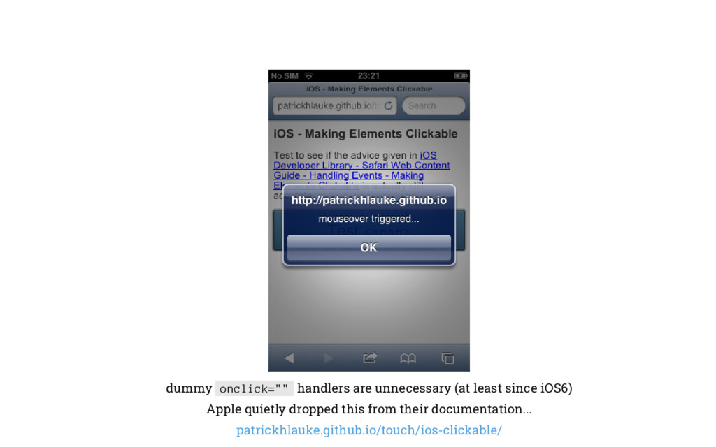 """dummy onclick="""""""" handlers are unnecessary (at l..."""
