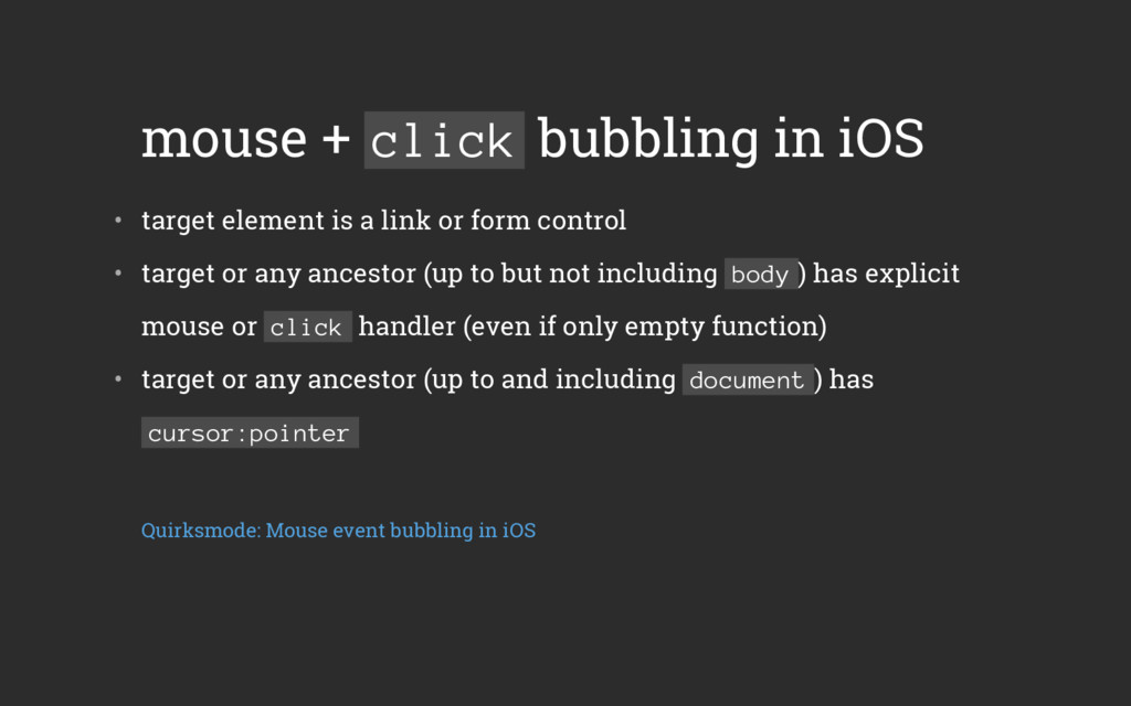 mouse + click bubbling in iOS • target element...
