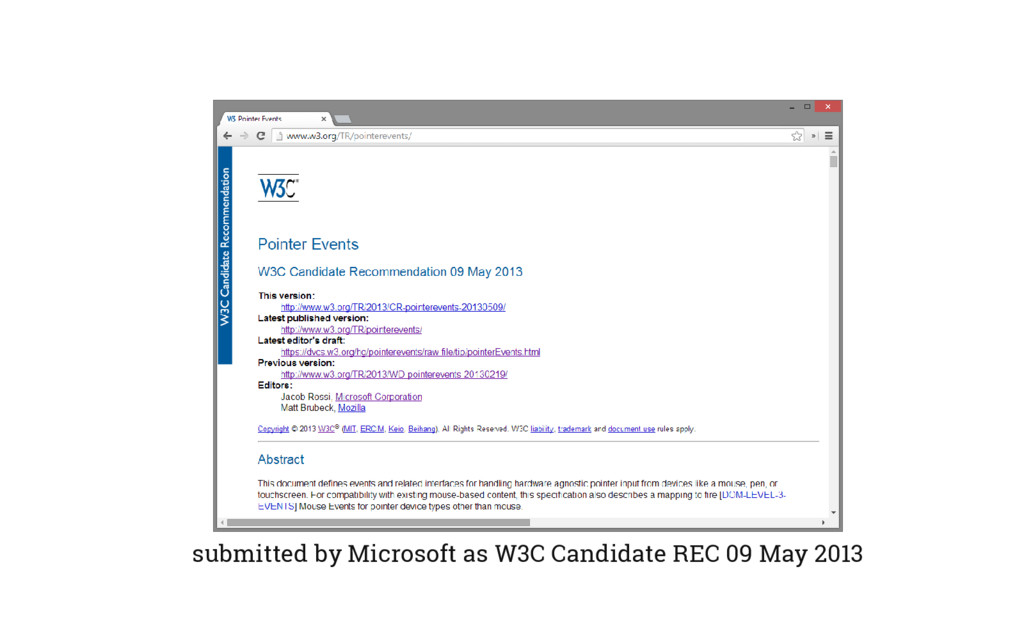 submitted by Microsoft as W3C Candidate REC 09 ...