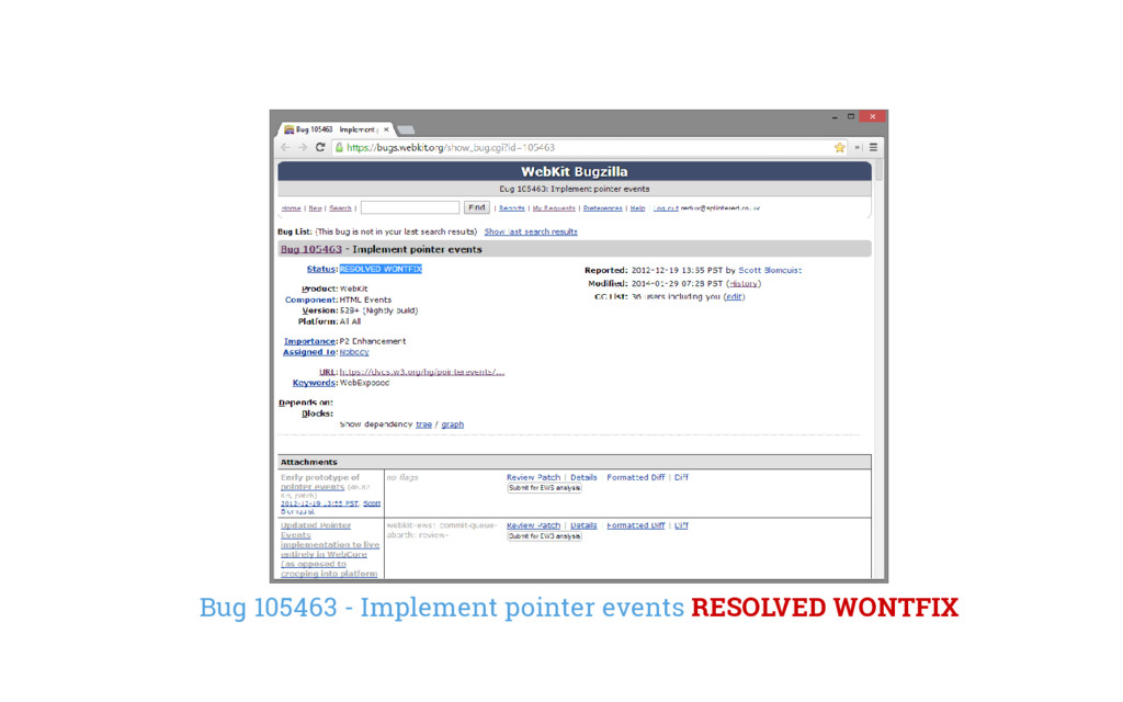 Bug 105463 - Implement pointer events RESOLVED ...