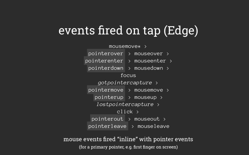 events fired on tap (Edge) mousemove* > pointero...